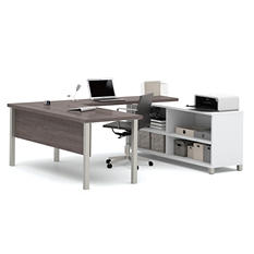 Bestar Pro-Linea OfficePro 120000 U-Shaped Desk, White/Bark Gray