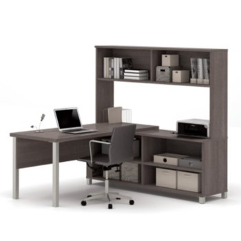 Bestar Pro-Linea L-Shaped Desk w/ Hutch