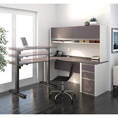 Bestar Connexion OfficePro 93000 L-Shaped Desk with Hutch and Electric Height Adjustable Table, Select Color