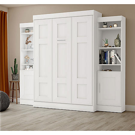 Edge by Bestar Wall Bed with Two Storage Units, White