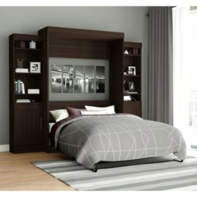 Edge by Bestar Wall Bed with Two Storage Units, Dark Chocolate