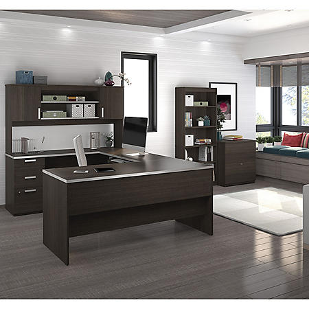 Bestar Ridgeley U-shaped Desk with lateral file and bookcase, Select Color