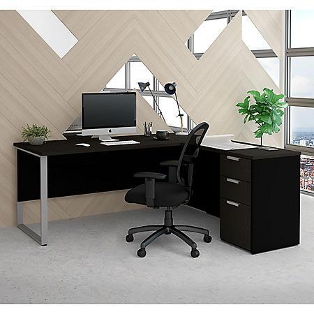Bestar Pro-Concept  Plus L-Desk with Metal Leg, Select Color