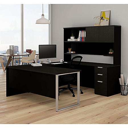 Bestar Pro-Concept Plus U-Desk with Hutch, Select Color