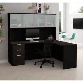 Bestar Pro-Concept  Plus L-Desk with Frosted Glass Door Hutch, Select Color