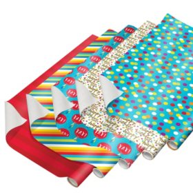 Colorful Birthday Wrapping Paper with Gridlines, 5-Roll, 240 Total Sq. Ft.