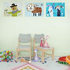 Bertini Kids Bear Chairs, Natural/Gray (2-Pack)