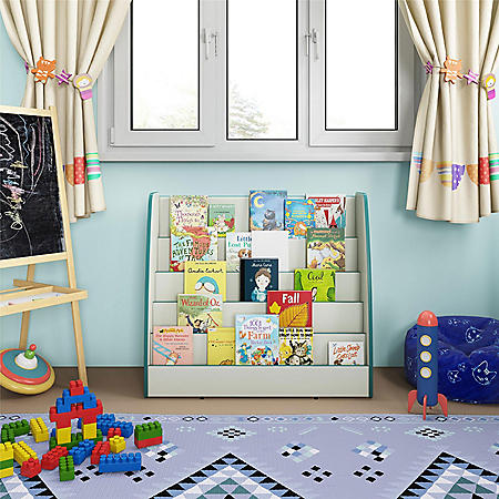 Bertini Kids Bunny Display Bookcase Caddy, White/Green