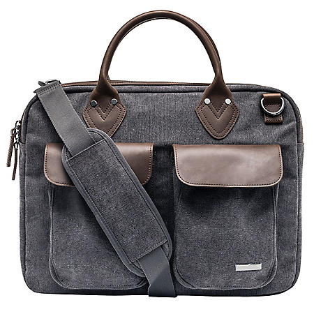 Renwick Canvas Briefcase with Genuine Leather Trim, Choose a Color