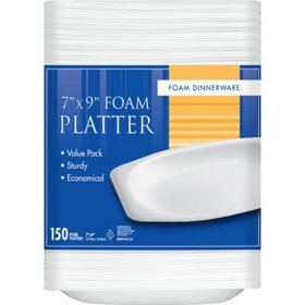 "Foam Dinnerware 7"" x 9"" Foam Platters (150 ct.)"