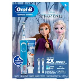 Oral B Power Toothbrush, Refills and Toothpaste featuring Marvel's Spidermanor Disneys Frozen 2