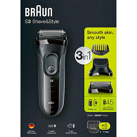 Braun Series 3 Shave&Style 3000BT 3-in-1 Shaver with Precision Trimmer & 5 Comb Attachments