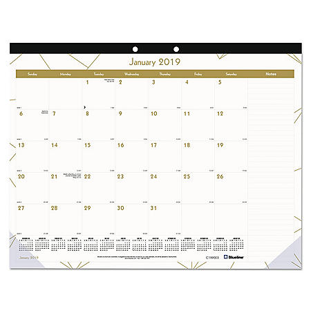 Blueline Gold Collection Monthly Desk Pad, 22 x 17, 2020