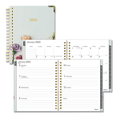 """Blueline Romantic Weekly/Monthly Hard Cover Planner, 9 1/4"""" x 7 1/4"""", Floral Cover, 2020"""