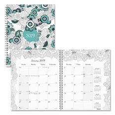 "Blueline Doodleplan Monthly Planner, 8 7/8"" x 7 1/8"", Coloring Pages, 2018"