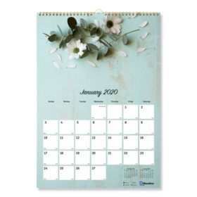 """Blueline One Month Per Page Twin Wirebound Wall Calendar, Romantic, 12"""" x 17"""", 2020"""