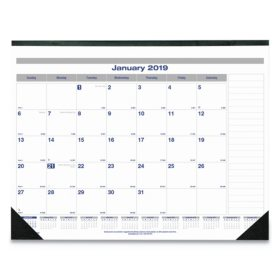 Blueline® Net Zero Carbon Monthly Desk Pad Calendar, 22 x 17, Black Band and Corners, 2019