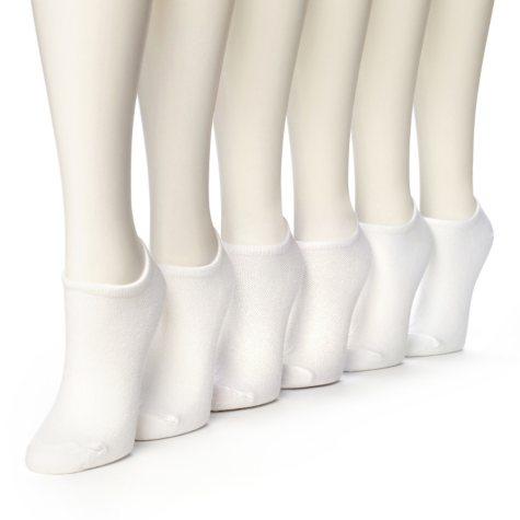 Women's Burlington Perfect Comfort™ No Show Liner Socks - Solid White - 6 pairs