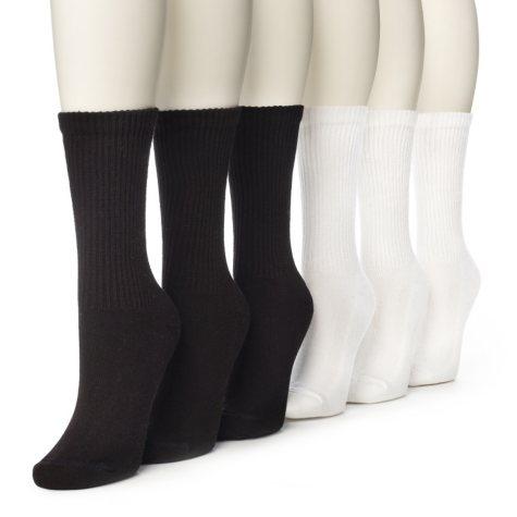 Women's Burlington Perfect Comfort™ Crew Socks - 3 Solid Black & 3 Solid White