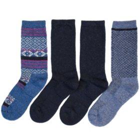 HUE Women's 4-Pack Wool Crew Sock