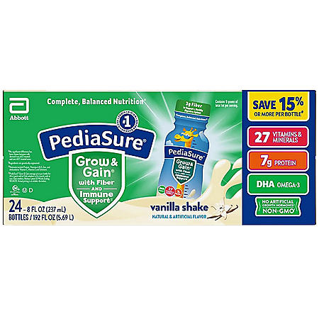 PediaSure Grow and Gain Nutritional Shake with Fiber for Kids, Vanilla (8 fl. oz., 24 pk.)