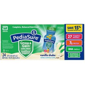 PediaSure Grow & Gain Nutritional Shake with Fiber for Kids, Vanilla (8 fl. oz., 24 pk.)