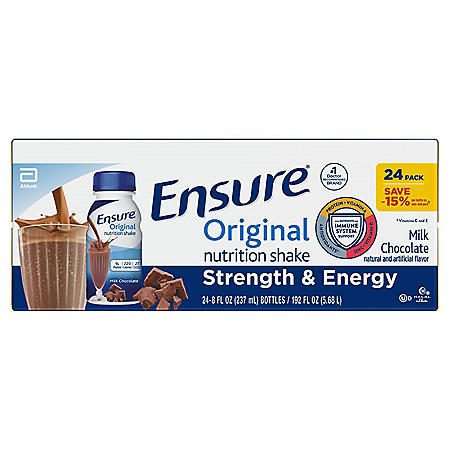 Ensure Original Nutrition Milk Chocolate Meal Replacement Shakes with 9g of Protein (8 fl. oz., 24 ct.)