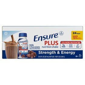 Ensure Plus Nutrition Milk Chocolate Meal Replacement Shakes with 13g of Protein (8 fl. oz., 24 pk.)