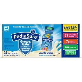 PediaSure Grow and Gain Nutrition Shake for Kids, Vanilla (8 fl. oz., 24 pk.)