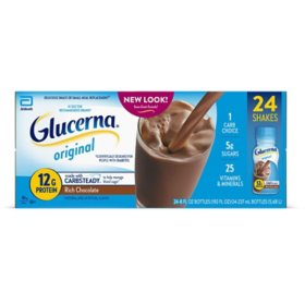 Glucerna, Diabetes Nutritional Shake, To Help Manage Blood Sugar, Rich Chocolate (8 fl. oz., 24 ct.)