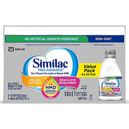 Similac Pro-Advance Ready-to-Feed Infant Formula with 2'-FL Human Milk Oligosaccharide (HMO) (32 fl. oz., 8 pk.)