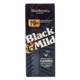 Black & Mild Casino Plastic Tip Cigar, Upright, Prepriced $0.79 (1 pk., 25 ct.)