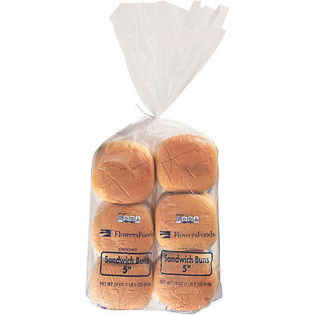 "Flowers Foods 5"" Hamburger Buns (36oz)"