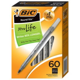 BIC® Round Stic Xtra Life Ballpoint, 1mm, Medium, Black, 60ct.