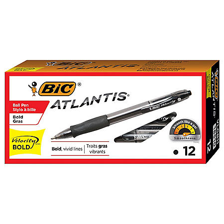 BIC Velocity Retractable Ballpoint Pen, 1.6mm, Bold, Black, 12pk.
