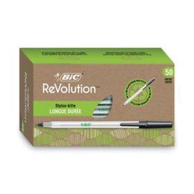 BIC® Ecolutions Round Stic Ballpoint Pen, 1mm, Medium, Black Ink, 50ct.