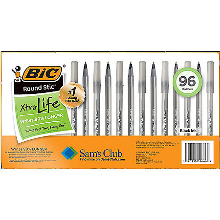 BIC Round Stic Xtra Life, Medium Point, 96 ct., Select Color