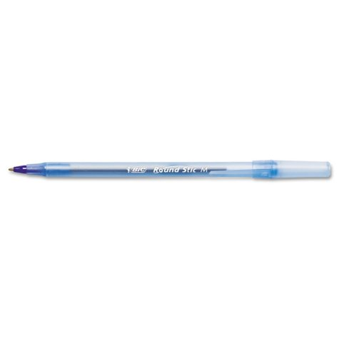 BIC - Round Stic Ballpoint Stick Pen, Blue Ink, Medium - 12 Pens