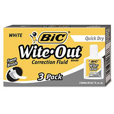 BIC Wite-Out Quick Dry Correction Fluid, 20 ml Bottle, White, 3pk.