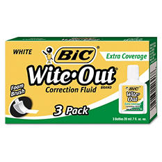 BIC Wite-Out Extra Coverage Correction Fluid, 20 ml Bottle, White, 3pk.