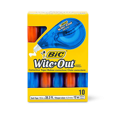 "BIC Wite-Out EZ Correct Correction Tape, Non-Refillable, 1/6"" x 472"", 10 pk."