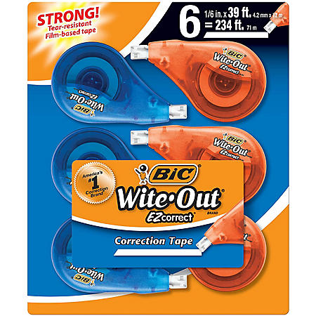 BIC Wite-Out Brand EZ Correct Correction Tape, White, 6 Count