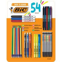 BIC Pen, Pencil, Briteliter, and Intensity Dry Erase Marker Variety Pack, 54 Ct