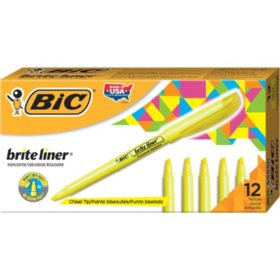 BIC Brite Liner Highlighter, Chisel Tip, Fluorescent Yellow, 12pk.
