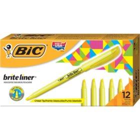 BIC Brite Liner Highlighter, Chisel Tip, Fluorescent Yellow, 12pk.