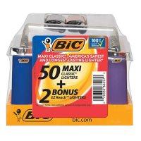 BIC 50ct Maxi Pocket Lighter Tray with 2 Bonus EZ Reach Lighters (52ct)