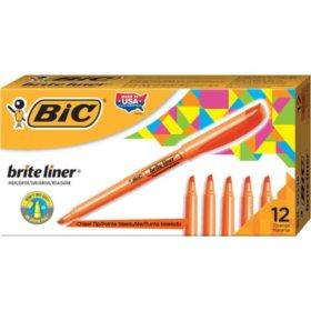 BIC Brite Liner Highlighter, Chisel Tip, Fluorescent Orange, 12ct.