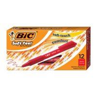 BIC Soft Feel Retractable Ballpoint Pen, 1mm, Medium, Red Ink, 12ct.