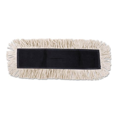 Unisan - Disposable Dust Mop Head w/Sewn Center Fringe, Cotton/Synthetic, 36w x 5d -  White