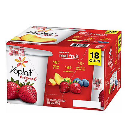Yoplait Yogurt Strawberry, Harvest Peach, Mountain Berry